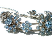 """Light Blue Rhinestone Flower Necklace on Silver Rhodium Plate with Dimensional Flowers - Formal Vintage Jewelry Adjustable up to 16"""""""