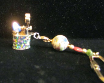 Holographic Lift Arm Lighter Keychain Handmade OOAK Keychain Vintage Working Lighter UNIQUE