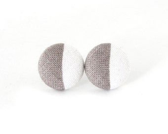 Tiny button earrings - gray white fabric earrings - simple stud earrings - elegant earrings