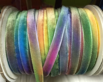 Velvet Ribbon - Rainbow Velvet Ribbon 10mm ( 3/8 inches )