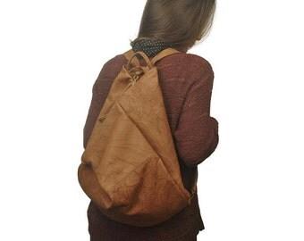"Handmade leather backpack made in wrinkled ""noce"" color .Named Kalliope MADE TO ORDER"