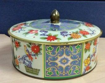 Daher Blue Gold Orange Floral Lidded Tin Container