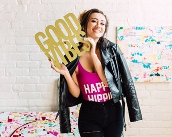 Good Vibes Signage 1 CT. , Laser Cut, Birch Plywood, Cheeky and Sassy Photobooth Signage, Weddings, Birthday Party