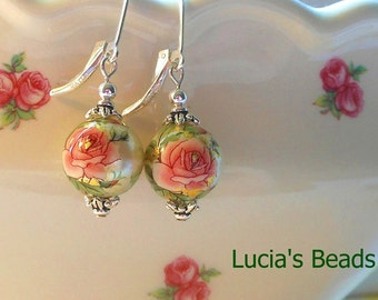 Pretty New Pink Rose on Pearl 12 MM Japanese Tensha Bead Earrings