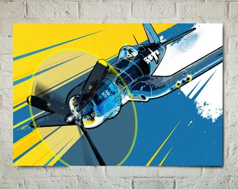 Airplane - F4U Corsair - Airplane Decor, Pop Art, WWII Military Airplane Art, Aviation Poster, Airplane Gift, Wall Art, Air Force Pilot Gift