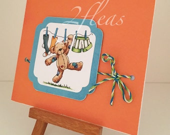 one-of-a-kind, hang in there bear, hand coloured, greeting card