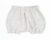 Micro Polka Dot Bubble Shorts Bloomers Black White Baby Unisex