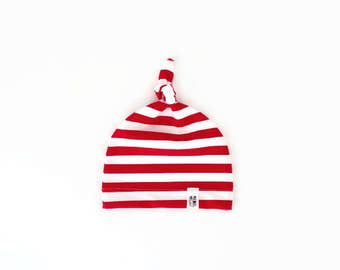 Red Stripe Knotted Baby Hat Unisex Christmas