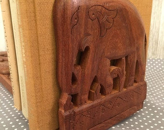Vintage ELEPHANT carved wood adjustable book ends