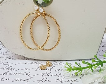Bridal Accessories, Bridal Gold Earrings, Gold Pearls Earrings, Pearls Earrings, Gold Hoop Earrings ,Bridal Drop Earrings, Wedding Jewelry