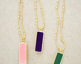 Beaded Gold Bezel Statement Necklace - Lightweight Long Rectangle Enameled Jewelry