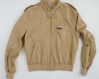 Vintage 80's Tan Members Only Cafe Racer Jacket - US/UK 46