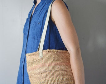 Vintage 1980s Woven Sisal Market Tote with Leather Straps | Woven Sisal Bag | Pastel Tones