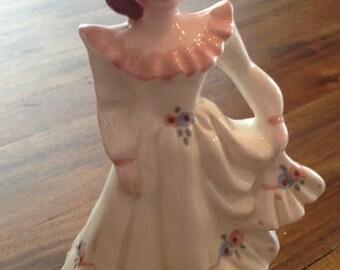 Adorable Vintage Pink Florence Planter Figurine with Polka Dot Ruffle Skirt
