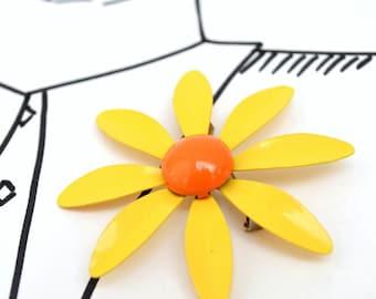 Vintage Enamel Large Flower Brooch - Yellow Orange
