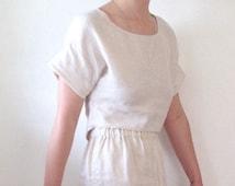 Pale beige linen crop top. Linen cropped blouse in ecru or black size S-M