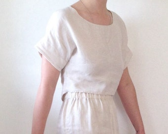 Linen crop top. Linen cropped blouse in ecru or black size S-M