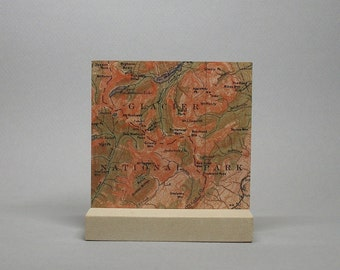 Glacier National Park Montana Vintage Map on Metal for Desk or Shelf Gift for Hiker Climber Men or Women