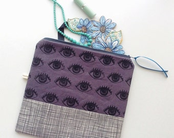 Grey linen handprinted Eye See You pouch