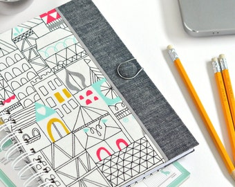Fabric journal // CITYSCAPE hardbound spiral notebook jotter diary