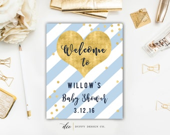 Baby Shower Welcome Sign, Printable Welcome Sign, Baby Boy Shower Welcome Sign, Blue Gold Baby Shower Sign, 8x10 Printable Welcome Sign