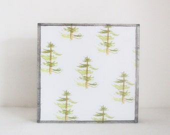 woodland nursery decor, forest nursery decor, pine trees 5x5- gender neutral baby,  woodland decor for nursery- forest decor, tree art