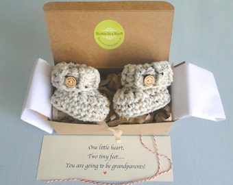Grandparent Pregnancy Announcement,  BOOTIES IN A BOX®, Baby Reveal, Ribbed Cuffs with Optional Wood Buttons, Baby Booties,  Baby Reveal Box