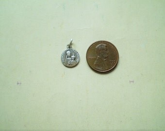 Notre Dame de Mont Roland - Vintage French Medal or Pendant - Round - Silver Metal - Our Lady - Catholic - Holy Charm