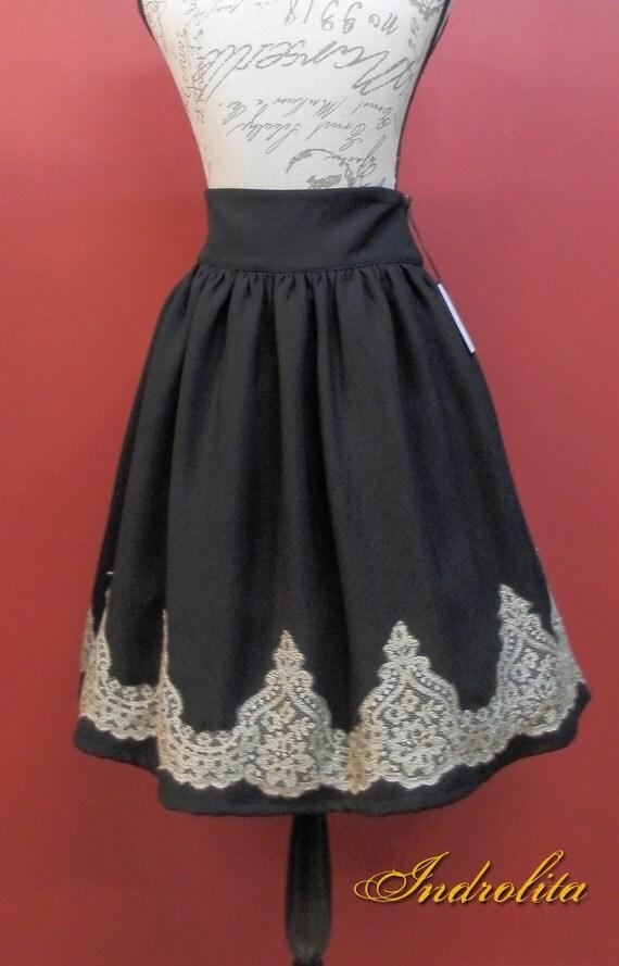Elegant Gold color Lace skirt
