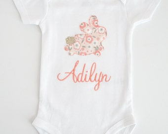 Personalized Baby Girl Onesie - Monogram Baby Clothes - Girl Baby Shower Gift for New Mom - Custom Baby Going Home Outfit - Pink Baby Bunny