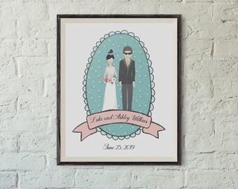 Printable Wedding Portrait, Couple Portrait, Anniversary Portrait, Wedding Day, 8x10 Inch,Custom Names,Wedding Date and More