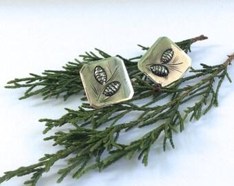 Vintage Sterling Silver Stuart Nye Pine Cone Earrings