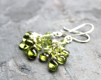 Peridot Earrings Cluster Grape Green Gemstones Cluster Sterling Silver, august birthstone