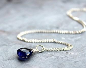 Iolite Necklace Sterling Silver Briolette Indigo Blue stone Necklace Gemstone Drop