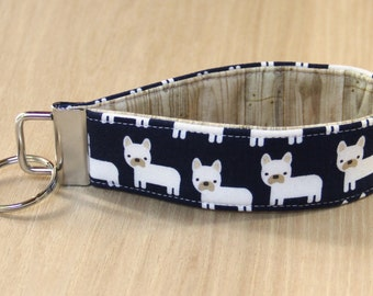 Key Fob Wristlet - White Dogs on Navy - Ready to Ship