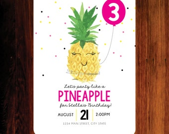 Pineapple Invitation, Pineapple birthday invitation, party like a pineapple invitation - digital file