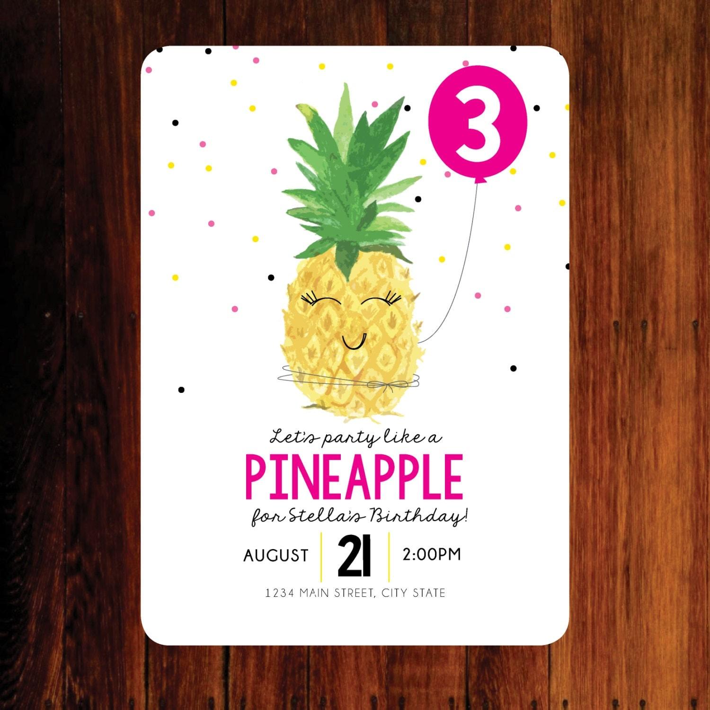 Pineapple Invitation Pineapple birthday invitation party