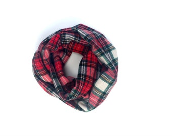 Kids Infinity Scarf -  Red - Toddler Scarf - Plaid Flannel - Huggable Harvest Collection