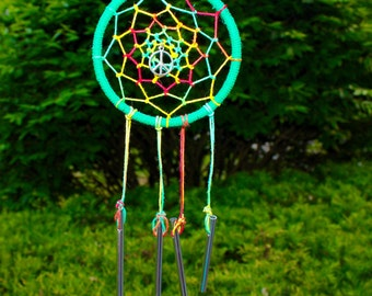 Rasta peace dreamcatcher wind chime, hippie, natural, upcycled, music festivals, rastafari, macrame