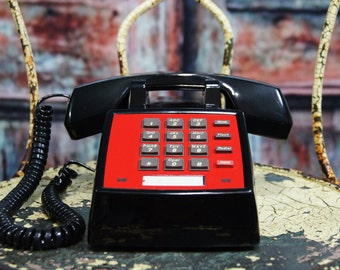 red upcycled Vintage Office Phone  push button telephone