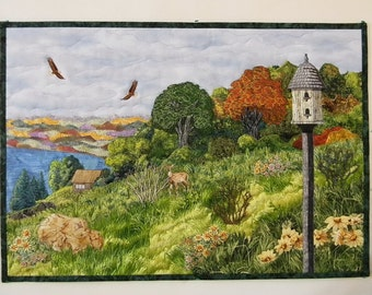 Landscape Quilt based on view from the Overlook Restaurant in Leavenworth, Indiana