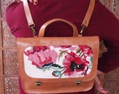 Caramel brown backpack, Leather backpack with floal tapestry, poppies needlepoint purse, Flower bag
