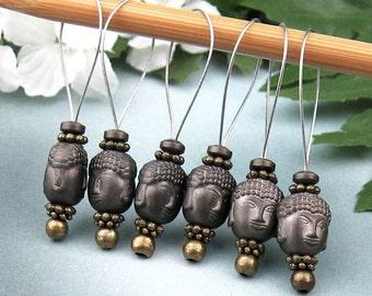 Stitch Markers, Knitting, Hematite Buddha, Semi-Precious Stones, Dark Brown, Snag Free, Knitting Tool, Knitting Accessory, Gift for Knitters