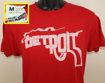 Detroit smoking gun graphic Screen Stars vintage t-shirt S/M red 80s soft thin