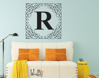 Damask Wall Decal Letter - Initial Wall Decal - Large Monogram Wall Decal - Personalized for Girls Teen Bedroom or Dorm - Preppy Name Decal