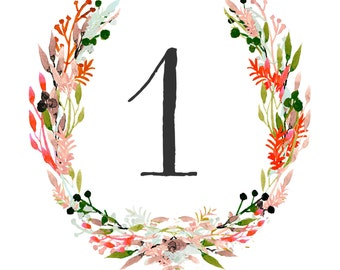 Floral Wedding Table Numbers - Print yourself