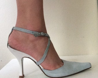 Cynthia Rowely ~ Leather ~ Baby Blue ~ Pointed Pumps