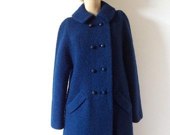 1960s Mod Wool Coat - vintage boucle a-line winter jacket - size S