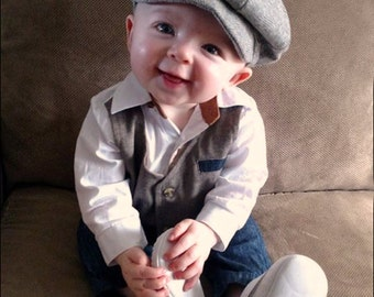 Baby Boy Hat, Newborn Hat, Ring Bearer Hat, Wedding Hat, Christening Hat, Newsboy Hat, Infant Hat, Boys Hat, Girls Hat,  Hats by pink2blue.