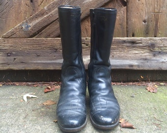 Italian Leather Motorcycle Boots Black Italian Made Biker Malcolm Smith Alpinestars Size 8